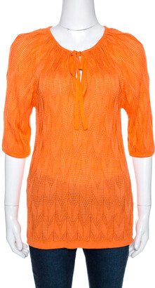 M Missoni Orange Chevron Pointelle Knit Top M