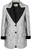 Gucci Velvet-trimmed Embellished Metallic Brocade Blazer - Silver