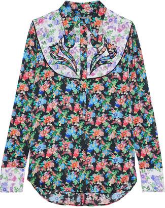 Paco Rabanne Paneled Appliqued Floral-print Crepe De Chine Shirt