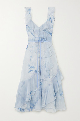 Marchesa Notte Floral-print Chiffon And Chantilly Lace Midi Dress - Light blue