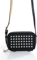 Reed Krakoff Black Leather Perforated Bionic Double Zip Small Crossbody Handbag