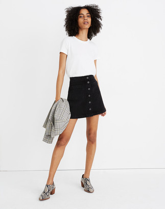 Madewell Stretch Denim A-Line Mini Skirt in Black Frost: Patch Pocket Edition