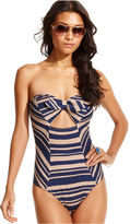 Bar III Swimsuit, Bandeau Striped Bow-Front One-Piece