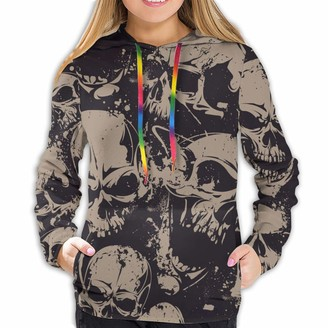 Mjh Day of The Dead Sugar Skulls Fashionable Soft Women Long Sleeve Hoodie Suitable for Spring Autumn and Winter Tops Black