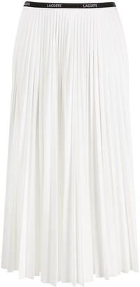 Lacoste Mid-Rise Pleated Midi Skirt