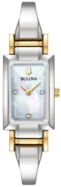 Bulova Women's Classic Diamond Accent Two-Tone Stainless Steel Bangle Bracelet Watch 28x33mm