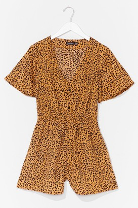 Nasty Gal Womens No Hard Felines Button-Down Leopard Playsuit - Yellow - 6, Yellow