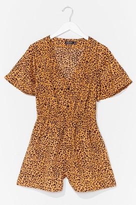Nasty Gal Womens No Hard Felines Button-Down Leopard Romper - Yellow