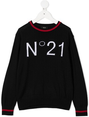 No21 Kids Logo Print Knitted Jumper
