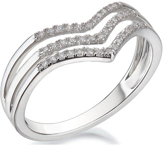 Love Diamond 9ct White Gold 15 Point Chevron Diamond Ring