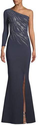 Chiara Boni Siobhan Metallic 1-Shoulder Gown