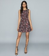 Reiss LOUISE DITSY PRINTED DAY DRESS Black