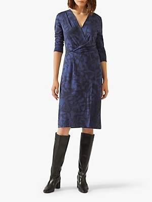 Jigsaw Woodland Floral Jersey Dress, Navy