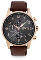 Navigator Ionic Rose Gold-Plated Steel & Brown Chronograph Leather Strap Watch