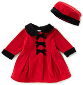 Starting Out Baby Girls 3-9 Months Velvet Bow Coat & Matching Hat Set