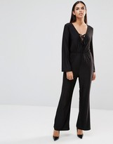 AX Paris Lace Up Jumpsuit In Slinky