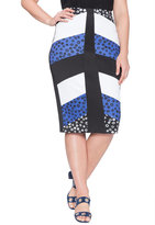 ELOQUII Plus Size Studio Mixed Print Pencil Skirt