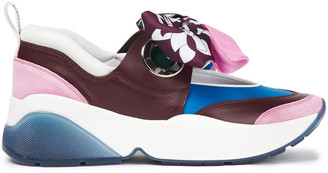 Emilio Pucci Twill-trimmed Suede, Leather And Shell Sneakers