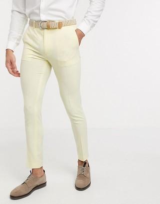 ASOS DESIGN super skinny suit trousers in lemon yellow