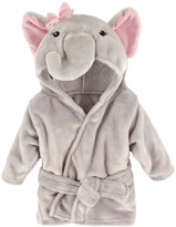Hudson Baby Girls' Bath Robes Pretty - Gray Elephant Hooded Bathrobe - Newborn