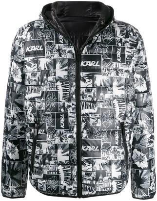 Karl Lagerfeld Paris comic print hooded jacket