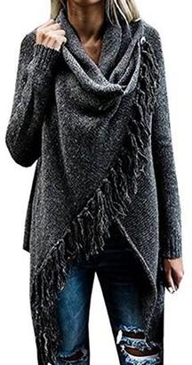 Minetom Women Autumn Winter Shawl Jumper Speckled Fringe Cardigan Fall Tassels Slash Hem Loose Sweater Poncho Black UK 8