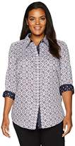 Foxcroft Women's 3/4 Sleeve Ava Tile Print Wrinkle Free Shirt