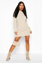 boohoo Petite Knitted Rib Roll Neck Jumper Dress
