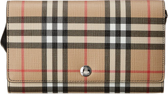 Burberry Vintage Check E-Canvas & Leather Wallet On Strap