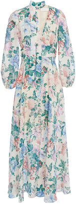 Zimmermann Verity Tie-neck Floral-print Linen-gauze Maxi Dress
