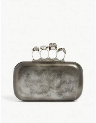 Alexander McQueen Metallic four ring leather clutch