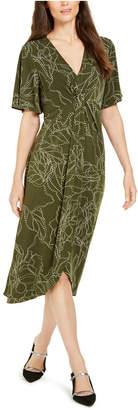 Alfani Printed Twist-Front Midi Dress