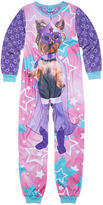 Asstd National Brand Sleep On It Long-Sleeve Photo Real Super Dog Zip-Front Pajamas - Girls