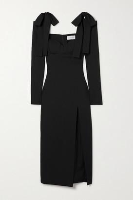 ALEKSANDRE AKHALKATSISHVILI Cold-shoulder Wool-twill Midi Dress - Black