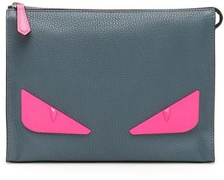 Fendi BAG BUGS POUCH OS Grey, Fuchsia Leather