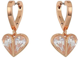 Kate Spade Rock Solid Stone Heart Huggies Earrings (Clear/Rose Gold) Earring