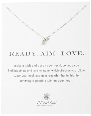Dogeared Sterling Silver Ready.Aim.Love. Arrow Pendant Necklace