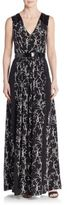 Tanya Taylor Rory Faux Patent Leather-Trimmed Printed Silk Maxi Dress