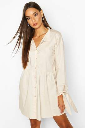 boohoo Button Through Cotton Shirt Smock Dress