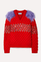 Prada Embellished Mohair And Cotton-blend Trimmed Wool Sweater - Red