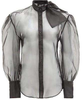 Elzinga - Pussy-bow Puff-sleeved Silk-organza Blouse - Black