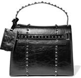 Valentino My Rockstud Glossed Textured-leather Tote - Black