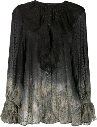 Etro Dotted Sheer Paisley Blouse