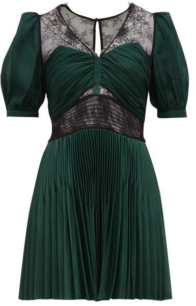 Self Portrait Lace Trimmed V Neck Pleated Mini Dress Womens Green