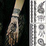Bluezoo Generic Black Lace Temporary Tattoos for Adventurous Women, Teens & Girls - Henna Tattoos Sticker W306-311(Pack of 2 Sheets)