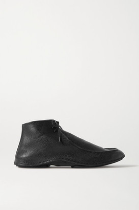 The Row Car Textured-leather Ankle Boots - Black