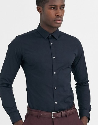 French Connection plain stretch skinny fit shirt-Navy