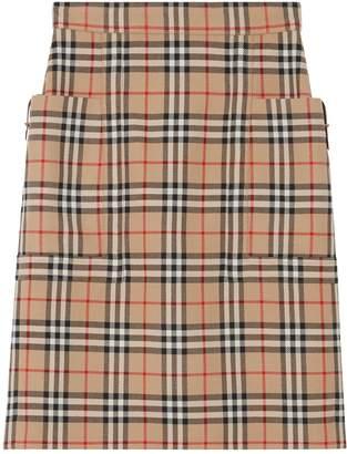 Burberry Wool Vintage Check Pencil Skirt
