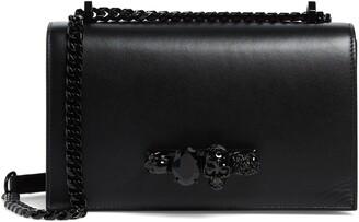 Alexander McQueen Blackout Leather Crossbody Knuckle Bag
