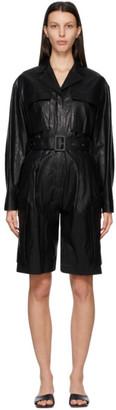 DRAE Black Faux-Leather Jumpsuit